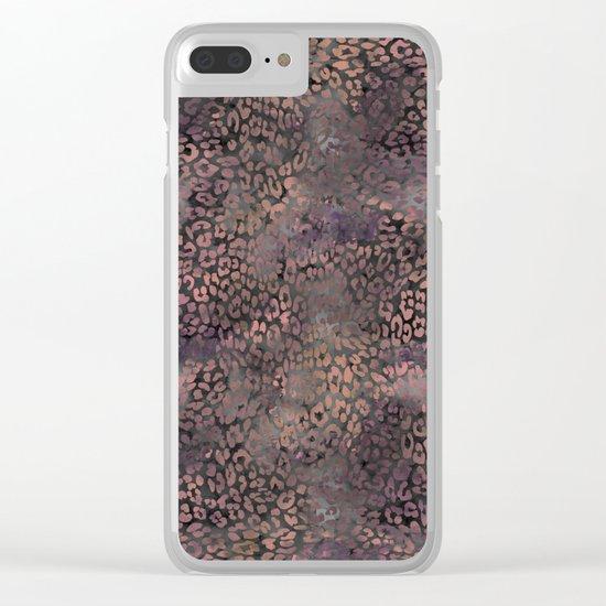 Brown Leopard Print Clear iPhone Case