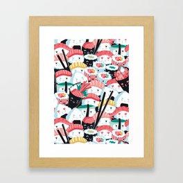 Kawaii Sushi Crowd Framed Art Print