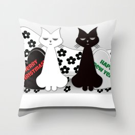 Black and White Cats on Sofa Christmas Throw Pillow