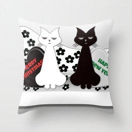 Black and White Cats on Sofa Christmas Throw Pillow