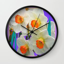 WHITE-GOLD NARCISSUS FLOWERS LAVENDER GARDEN Wall Clock