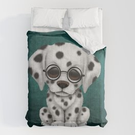 Dalmatian Puppy Wearing Reading Glasses on Blue Comforters