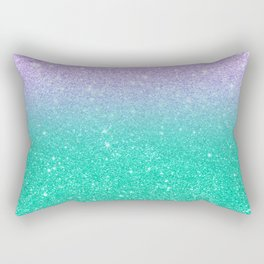 Mermaid purple teal aqua FAUX glitter ombre gradient Rectangular Pillow