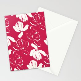 Red and white Flowers Stationery Cards