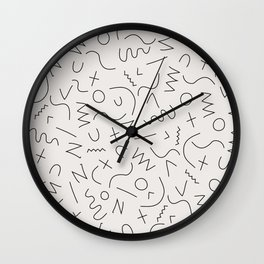 Scribbles Black on Warm Gray Wall Clock