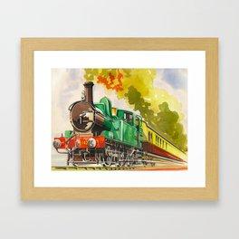 Vintage Mid Century Travel Poster British Railways Steam Engine Watercolor Illustration Framed Art Print