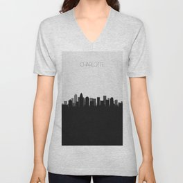 City Skylines: Charlotte Unisex V-Neck