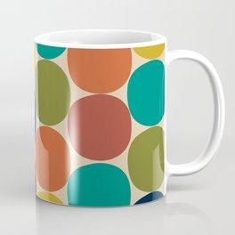 Mod Dots Midcentury Modern Pattern in Mid Mod Turquoise, Orange, Olive, Blue, Mustard, and Beige Coffee Mug