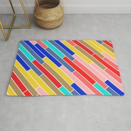 Colored lines, colored stripes. Multicolor abstract. Rainbow pattern. Rug