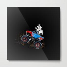 Monster Truck Panda Gift Idea Design Motif Metal Print