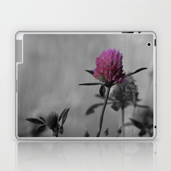 Red clover in black and white with a splash of color Laptop & iPad Skin