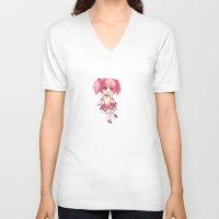 madoka V-neck T-shirts featuring Madoka Kaname by Nozubozu