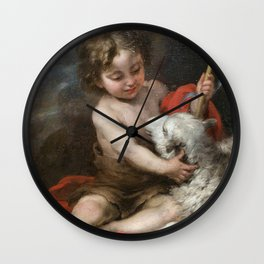 Bartolome Esteban Murillo - The Infant Saint John Playing with a Lamb Wall Clock