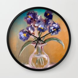 Purple And Blue Pansies In Glass Vase Wall Clock