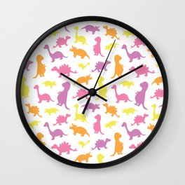 Dinosaurs cute pattern colorful on white Wall Clock