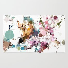 Decorative Subdued Pastel Pattern Abstract Rug
