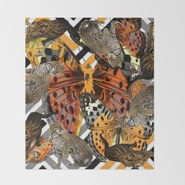 OCELOT CATS & BUTTERFLIES NATURE ART Throw Blanket