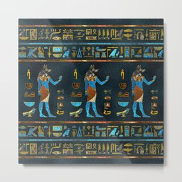 Anubis Egyptian  Gold, Blue and Red glass Metal Print