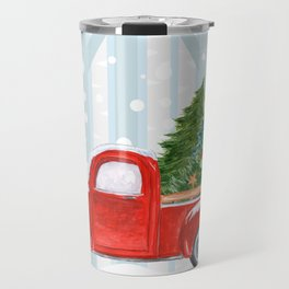 Christmas Red PickUp Truck on a Snowy Road Travel Mug