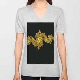 golden dragon on black Unisex V-Neck