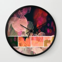 Blush and Persimmon Abstract Rose Pattern Wall Clock
