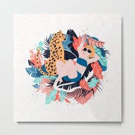 Yellow Hair Tropical Girl with Cheetah Metal Print