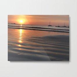 Golden Ocean Sunset Reflections  Metal Print