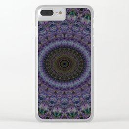 Mandala in blue and violet Clear iPhone Case