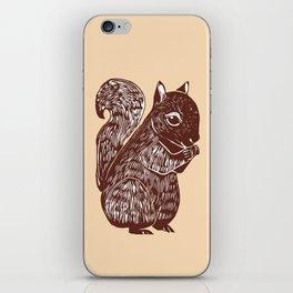 Brown Squirrel Printmaking Art iPhone Skin