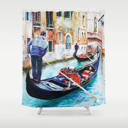 Gondolas on the Canals of Venice, Italy Shower Curtain