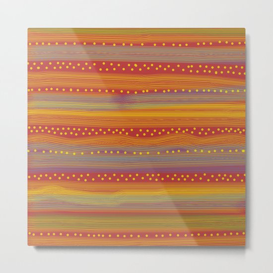 Red with Stripes and Dots Metal Print