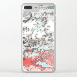 Red & Teal Foliage Clear iPhone Case