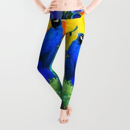 BLUE GREEN PEACOCK YELLOW BLUE ROSE FLORAL PATTERN Leggings