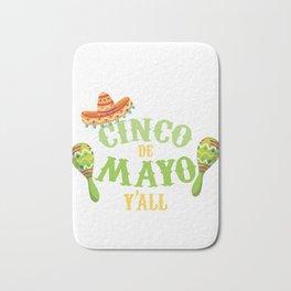 Happy Cinco de Mayo Y'All Mexican Holiday Sombrero Bath Mat