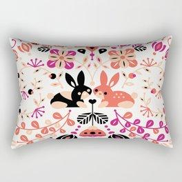 Bunny Lovers – Peach & Black Palette Rectangular Pillow