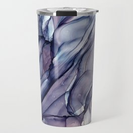 Slate Purple and Sparkle Flowing Abstract Travel Mug