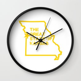 Great State of Kansas TShirt - Vintage Missouri Map Funny Wall Clock