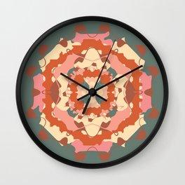 Teal and Terracotta Folk Art mandala Wall Clock