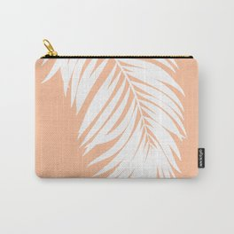 Palm Leaf White on Apricot Ice Carry-All Pouch