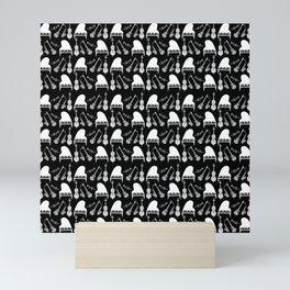 Jazz Music Pattern black and white Mini Art Print