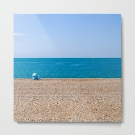 Blue wind shelter at the beach Metal Print