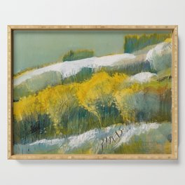 First Snow Landscape Painting / Dennis Weber / ShreddyStudio Serving Tray