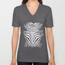 Black And White Zebra Design Unisex V-Neck