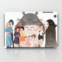 hayao miyazaki iPad Cases featuring Hayao Miyazaki's Family by Naineuh
