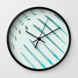 dots and stripes dark cyan and lightblue II Wall Clock