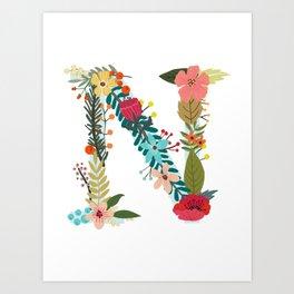 Monogram Letter N Art Print