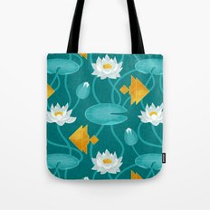 Tangram goldfish and water lillies Tote Bag
