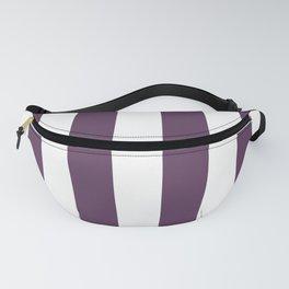 Dark Inky Plum Purple and White Cabana Stripes Fanny Pack