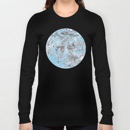 Cyan and grey Marble texture acrylic Liquid paint art Long Sleeve T-shirt