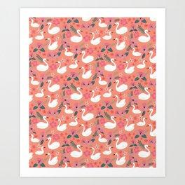 Swan Pink Lake Art Print